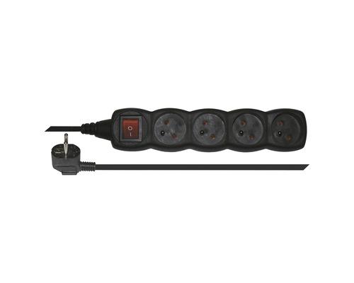 Predlžovací kábel Emos 4 zásuvky s vypínačom 3m čierny