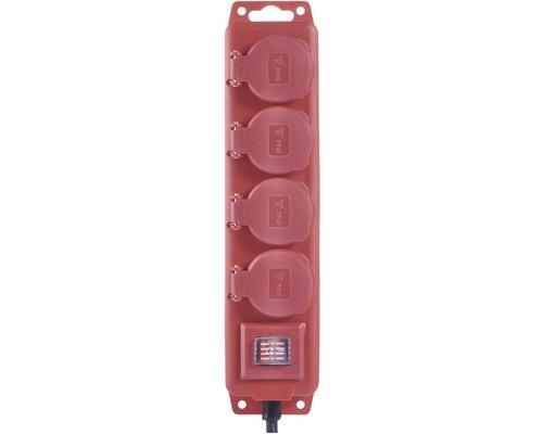 Predlžovací kábel Emos IP44 4 zásuvky 5m červený