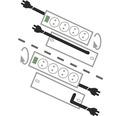Predlžovací kábel H05VV-F 3G1,5 so 10 zásuvkami a 2x vypínačom 2m sivý