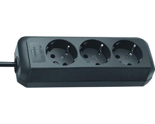 Predlžovací kábel H05VV-F 3G1,0 s 3 zásuvkami 1,5m čierna