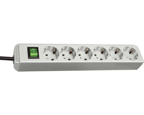 Predlžovací kábel H05VV-F 3G1,0 so 6 zásuvkami a vypínačom 1,5m sivý