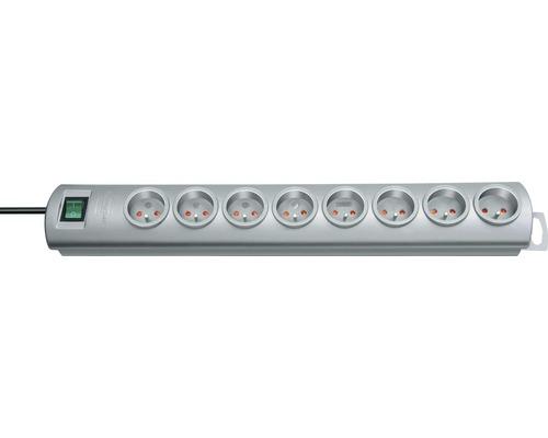 Predlžovací kábel H05VV-F 3G1,5 so 8 zásuvkami a vypínačom 2m sivý