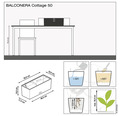 Plastový hrantík Lechuza Balconera Cottage sivý 50x19x19cm