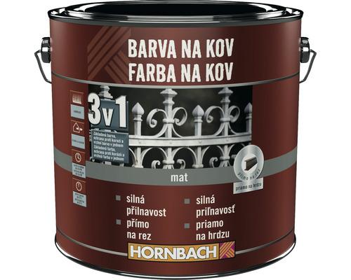 Farba na kov 3v1 Hornbach biela, matná 2,5l