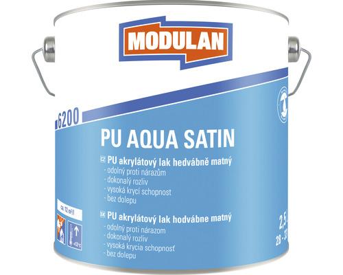 PU akrylátový lak hodvábne matný Modulan PU Aqua Satin RAL9016 Dopravná biela 2,5 l