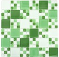 Sklenená mozaika XCM 8570 30,5x32,5 cm zelená/biela