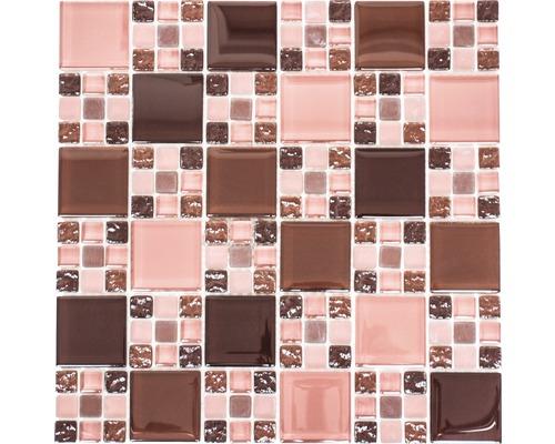 Sklenená mozaika XCM 8575 30,5x32,5 cm hnedá/červená