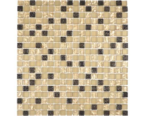 Sklenená mozaika s prírodným kameňom XCM M960 30,5x32,5 cm béžová