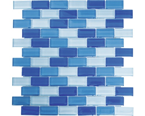 Sklenená mozaika XCM B822 30,5x32,5 cm modrá