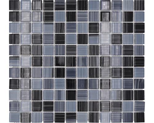 Sklenená mozaika šrafovaná čierno - biela 30,5x32,5 cm hrúbka 4 mm