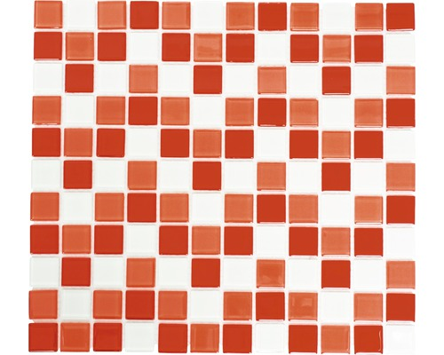 Sklenená mozaika mix červeno - biela 30,5x32,5 cm hrúbka 4 mm