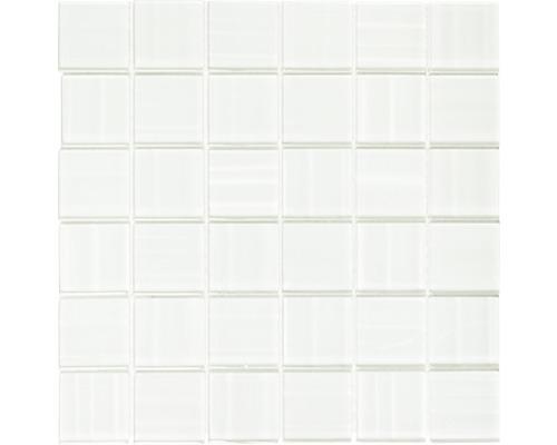 Sklenená mozaika lesklá biela 29,8x29,8 cm