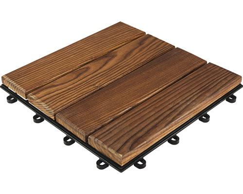 Drevená dlažba 30 x 30 cm s klick systémom termo jaseň hladký impregnovaný balenie 6 ks