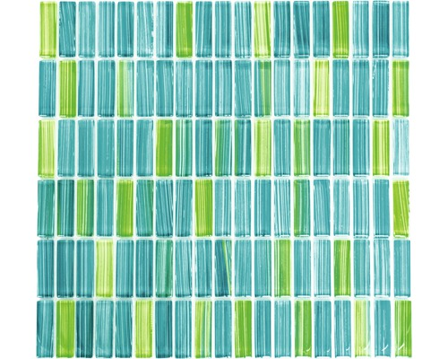 Sklenená mozaika XCM S850 30,5x32,5 cm zelená/modrá