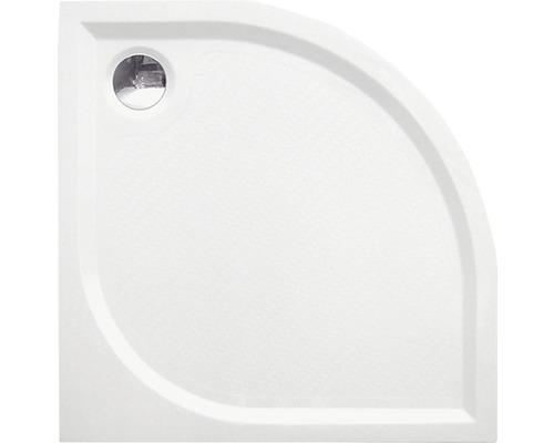 Sprchová vanička z liateho mramoru Helena štvrťkruhová 90x90x3 cm R550 biela