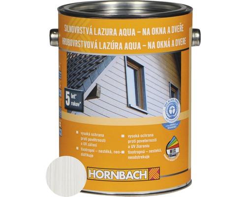 Hrubovrstvá lazúra na vodnej báze Hornbach, biela 2,5 l