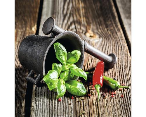 Sklenený obraz Green Basil In Bowl II 20x20 cm